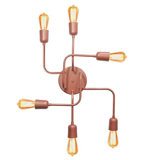 Plafon Luminária Aranha industrial Retrô em alumínio cobre rosê para 6 lâmpadas E27 de filamento 51cm x 43cm