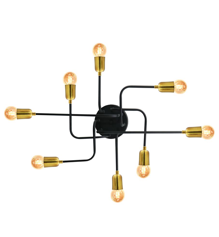 Pendente Luminária Aranha industrial Retrô em alumínio Preto Fosco c/ Dourado para 8 lâmpadas E27 de filamento 54cm x 51cm