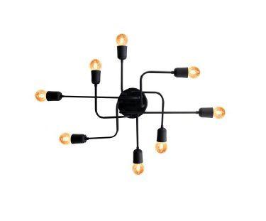 Plafon Luminária Aranha industrial Retrô em alumínio preto fosco para 8 lâmpadas E27 de filamento 54cm x 51cm