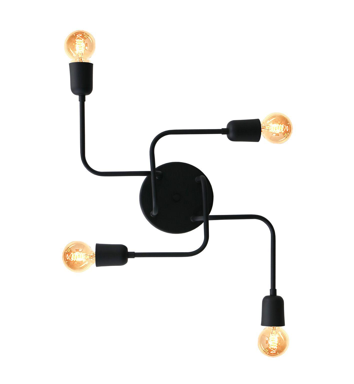 Plafon Luminária Aranha industrial retrô em alumínio preto fosco para 4 lâmpadas E27 51cm x 43cm
