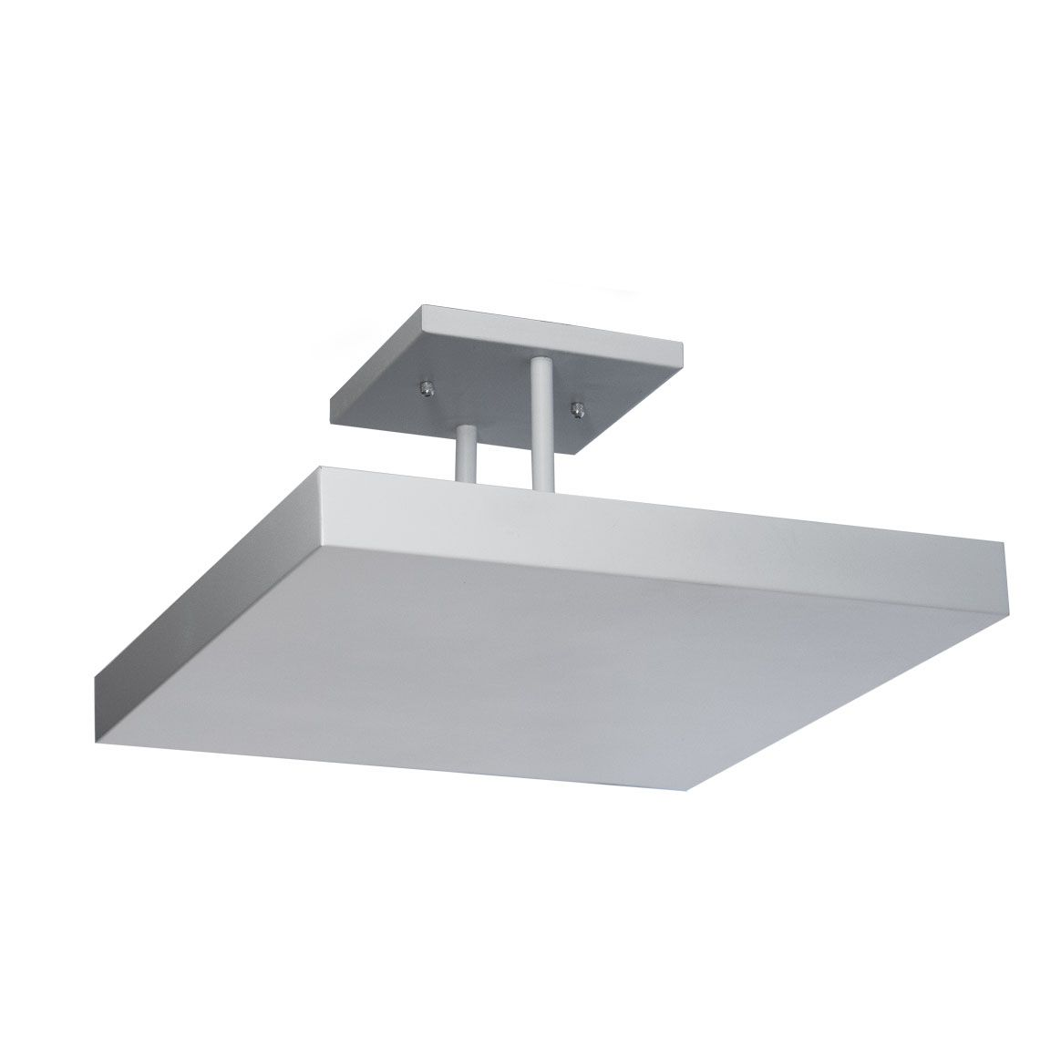 Plafon sobrepor de luz indireta 50x50cm em alumínio branco texturizado