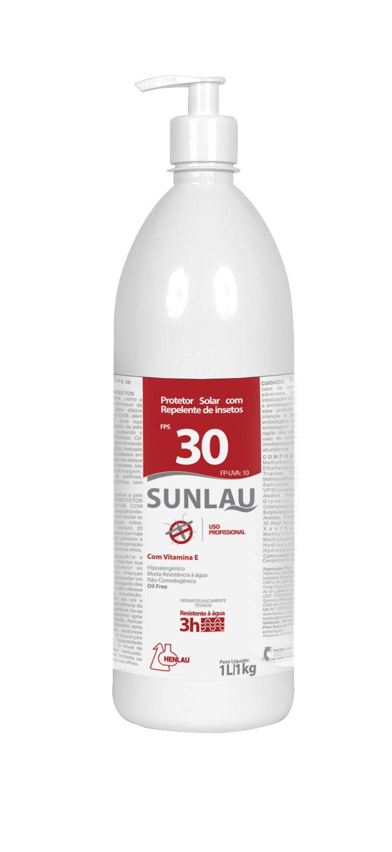 Protetor solar FPS 30 UVA/UVB com vitamina E e repelente de insetos  1kg Sunlau - Henlau