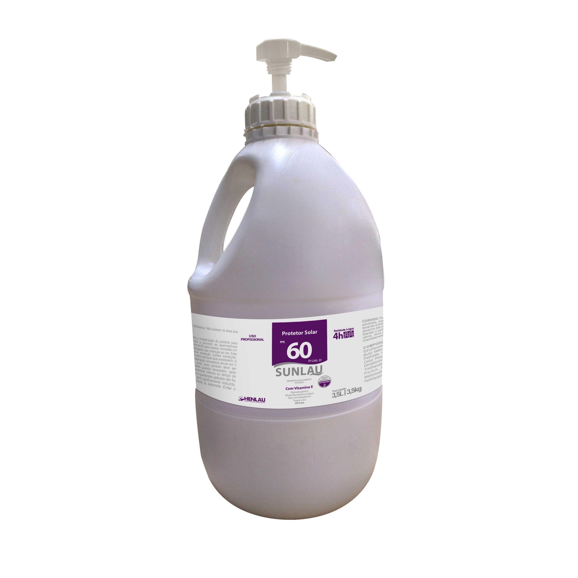 Protetor Solar FPS 60 UVA/UVB com Vitamina E e Bioativo Marinho 3,5 kg Sunlau - Henlau