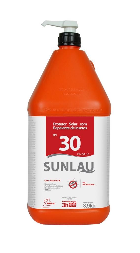 Protetor solar FPS 30 UVA/UVB com vitamina E e repelente de insetos  3,9kg Sunlau - Henlau