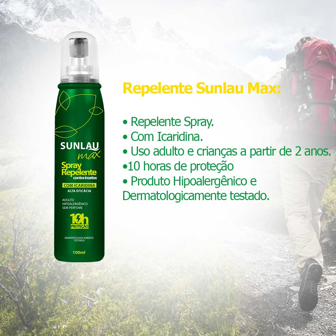 Repelente de Gestante Contra insetos Sunlau Max Spray com Icaridina 10 horas de proteção 100ml