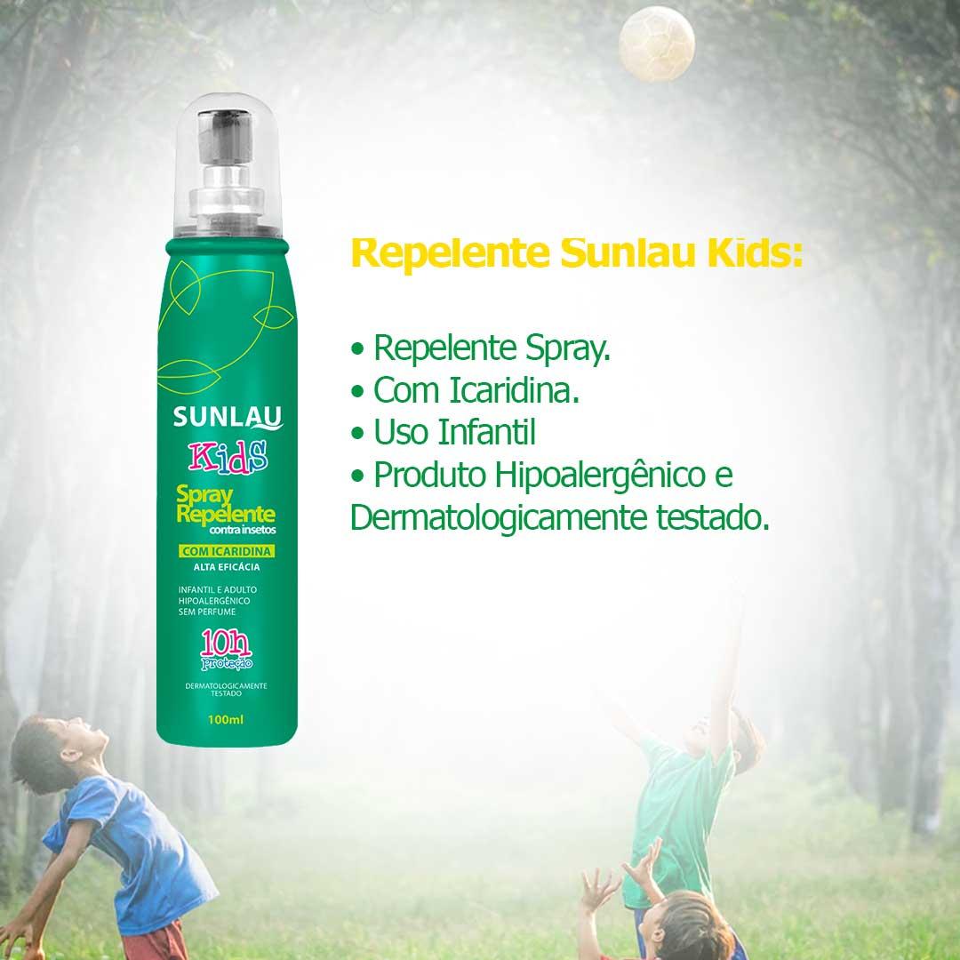 Repelente de insetos infantil Sunlau Kids com icaridina 10 horas de proteção 100ml