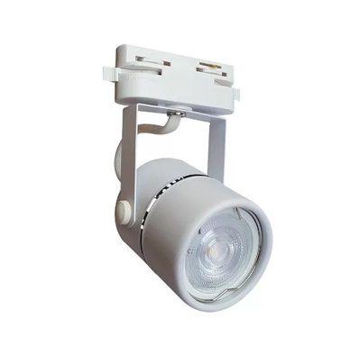 Spot para trilho eletrificado branco em metal para 1 lâmpada GU10 alt. 117mm x diâm. 55mm