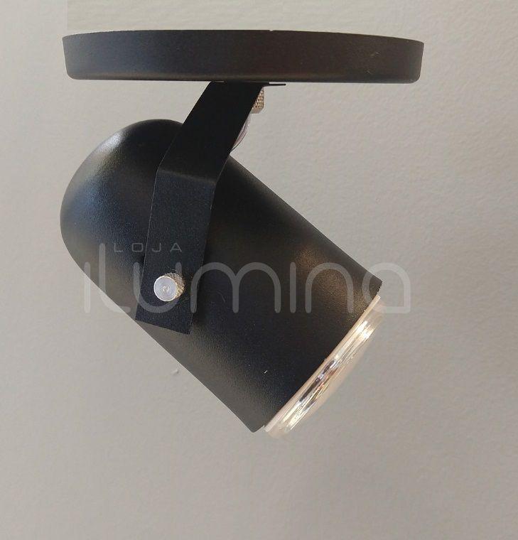 Spot de Sobrepor Direcionável preto texturizado em alumínio para 1 Lâmpada E27