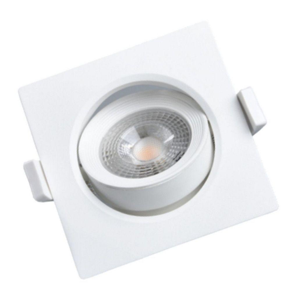 Spot LED direcionável quadrado de embutir 3000k - branco quente 5w Bivolt
