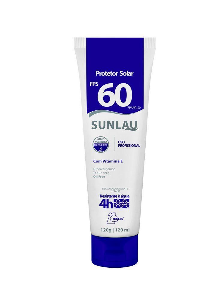 Protetor Solar FPS 60 UVA/UVB com Vitamina E e Bioativo Marinho 120g Sunlau - Henlau