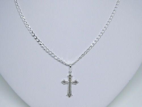 Cordão Corrente Grumet  3mm Prata 925 Masculina 70cm + Cruz Crucifixo