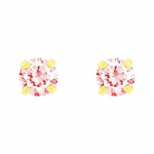 Brinco De Ouro 18k Infantil  2º Furo 3mm Pedra Rosa