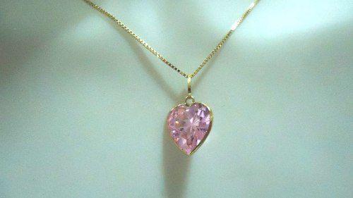 Pingente Joia Ouro 18k 750 Coração Rosa  8mm