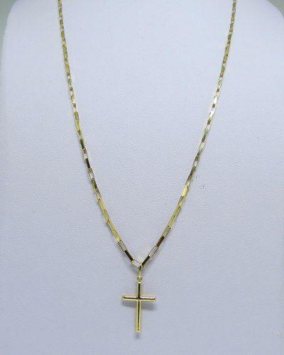 Cordão Corrente Masculino Ouro 4.1g Pingente Cruz Crucifixo 1g Ouro 18k 750 Cadeado