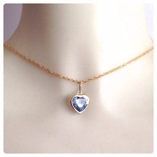Cordão Feminino Singapura 50cm E Pingente Coração Azul Ouro 18k 750
