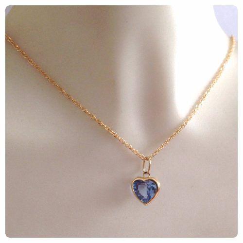 4c1f10835dd60 ... Cordão Feminino Singapura 50cm E Pingente Coração Azul Ouro 18k 750 ...