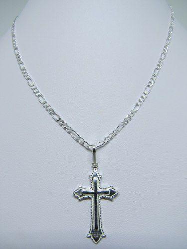 Corrente Cordão Masculino 5mm Pingente Crucifixo Prata 925