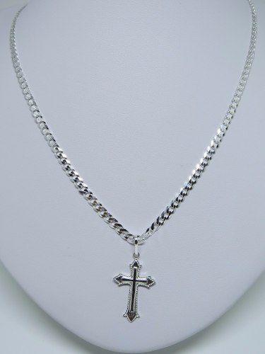 Corrente Cordão 80cm E Pingente CrucifixoDe Prata 925 Maciça
