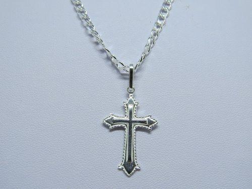 Corrente Cordão Grumet 3mm 60cm E Pingente Crucifixo De Prata 925