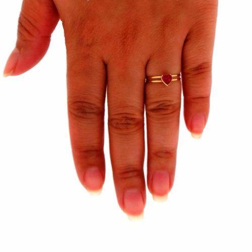 9c4b5c969182c Anel Ouro 18k 750 Feminino Solitário Pedra Zircônia Coração - DR JOIAS