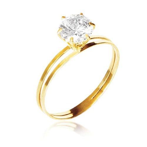 Anel Cálice Solitário Ouro 18k 750 Pedra 7mm