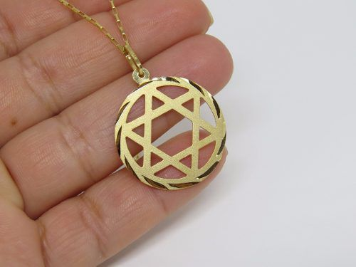 Cordão Corrente Masculina Ouro 60cm E Pingente Estrela De Davi 2.6cm De Ouro  18k 750 eade8c6876