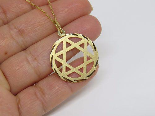 Cordão Corrente Masculina Ouro 60cm E Pingente Estrela De Davi 2.6cm De Ouro 18k 750 Cadeado