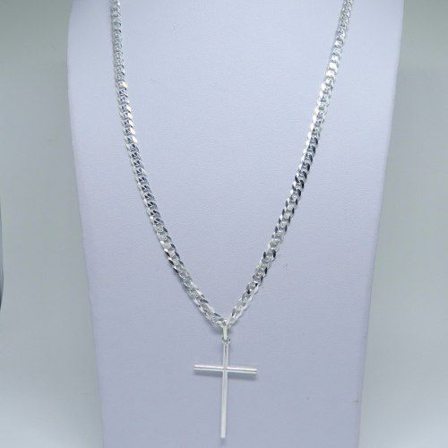 Conjunto Corrente Pulseira Pingente Crucifixo Prata 925