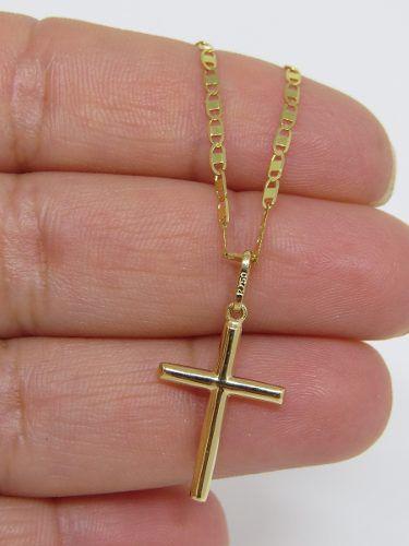 a4fb76052e0 Corrente Piastrine 70cm + Pingente Crucifixo 2.7cm Ouro 18k 750 - DR ...