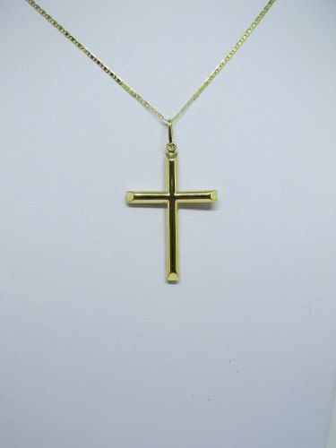 Corrente Piastrine 70cm + Pingente Crucifixo 2.7cm Ouro 18k 750