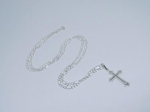 Corrente 3 x 1 Fígaro 3mm Pingente Crucifixo Prata  925