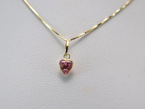 Gargantilha Colar Veneziana 45cm Ponto De Luz Coração Rosa Em Ouro 18k 750