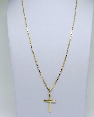 Cordão Corrente Masculina 60cm Pingente Crucifixo 2.7cm Ouro 18k Cadeado