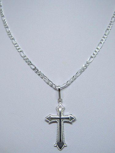 Corrente Cordão Masculino Fígaro 5.5mm X 70cm com Crucifixo Prata 925