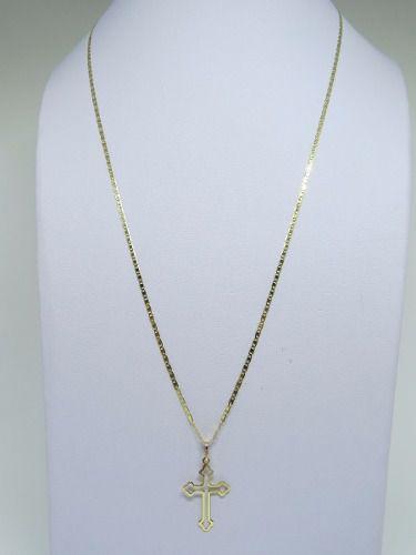 Cordão Corrente Masculina Piastrine 70cm Pingente Crucifixo Vazado Ouro 18k