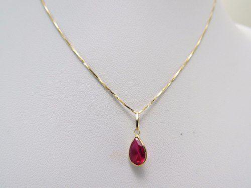 Colar Gargantilha Ponto De Luz 40cm Gota Vermelha Em Ouro 18k