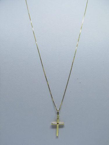 Cordão Corrente Veneziana 70cm E Crucifixo Ouro 18k 750
