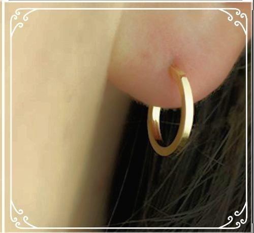 Brinco De Argola Em Ouro 18k 750 Feminino 1.4cm