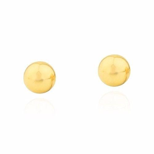 Brinco Bola 7mm E Brinco 3mm Segundo Furo Ouro 18k