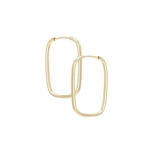 Brinco Argola Ouro 18k 750 Retangular