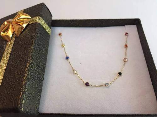 Corrente Colar Pedras Coloridas Zirconia Ouro 18k
