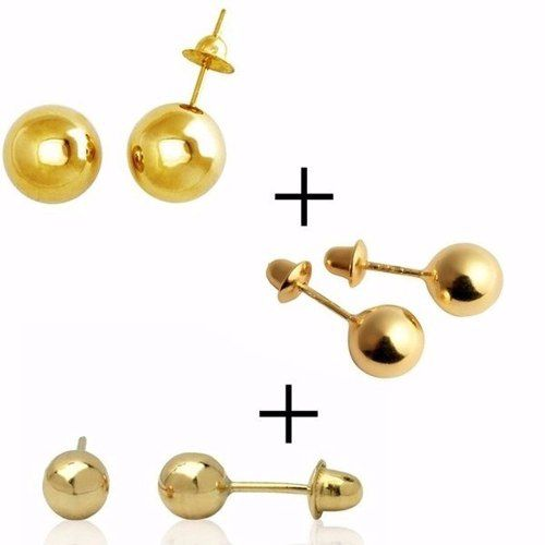 Brinco Bola 5mm 4mm 3mm Joia Ouro 18k 750