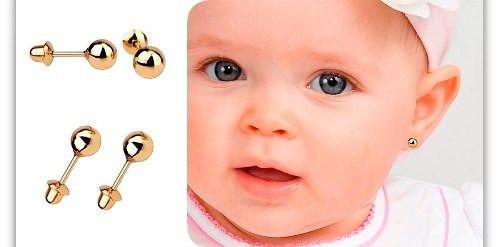 Pulseira De Ouro 18k Infantil Com Placa + Brinco Bolinha 3mm