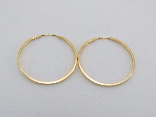 Brinco De Argola Ouro 18k 750 Fio Quadrado 2.5cm