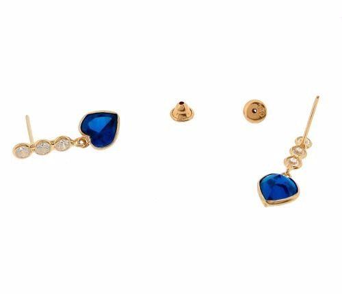 Brinco Três Marias Coração 6mm Azul Safira Ouro 18k 750