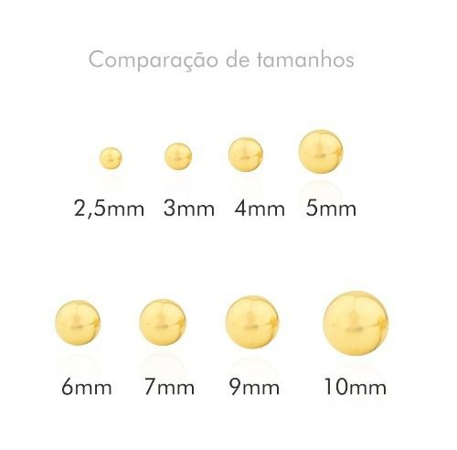 Brinco Bolinha 4mm Ouro 18k