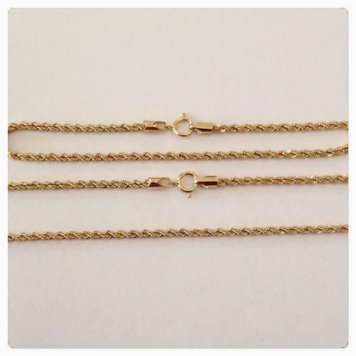 Conjunto Corrente Cordão Colar 40cm Baiano E Pulseira Ouro 18k 750