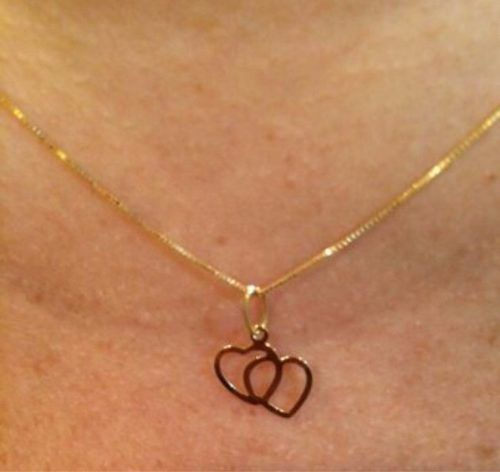 Cordão Corrente Veneziana 45cm Pingente Coração Ouro 18k 750