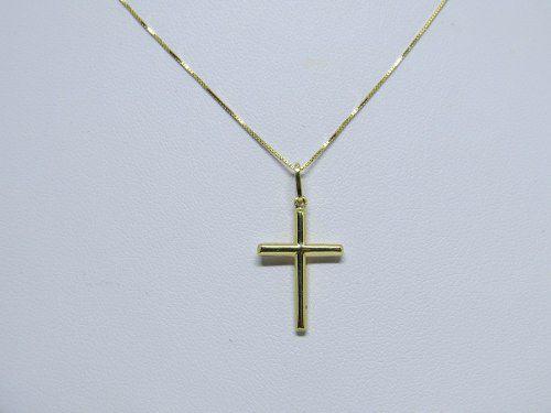 Corrente Veneziana 80cm Pingente Crucifixo 18k