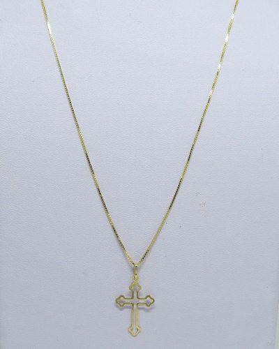 37a5c66772cfb Cordão Corrente Veneziana 60cm Fina Crucifixo Vazado Ouro 18k 750 ...
